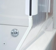 Close up of the Trackless Shower Door