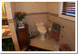 accessible bathroom featuring universal design