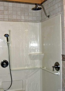 CRDA House First Floor Master Bath Curbless Shower with handhelds