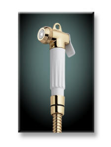 Consist of a stylish spray nozzle connected to a flexible hose that is connected to the toilet's water source.